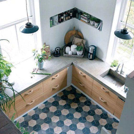Blue Patterned Tiles in Kitchen