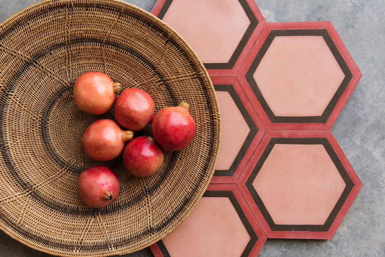 Red & Black Hexagon tile